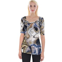 Time Abstract Dali Symbol Warp Wide Neckline Tee