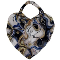 Time Abstract Dali Symbol Warp Giant Heart Shaped Tote