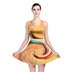 Spiral Abstract Colorful Edited Reversible Skater Dress