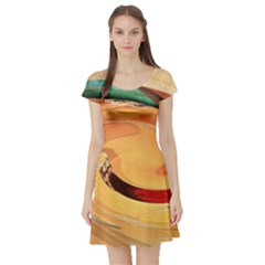 Spiral Abstract Colorful Edited Short Sleeve Skater Dress