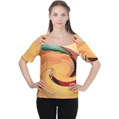 Spiral Abstract Colorful Edited Cutout Shoulder Tee
