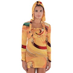 Spiral Abstract Colorful Edited Long Sleeve Hooded T Shirt