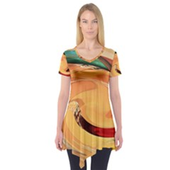 Spiral Abstract Colorful Edited Short Sleeve Tunic