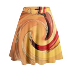 Spiral Abstract Colorful Edited High Waist Skirt