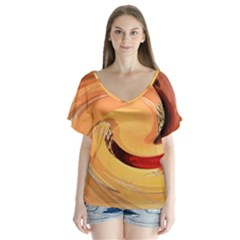 Spiral Abstract Colorful Edited V Neck Flutter Sleeve Top