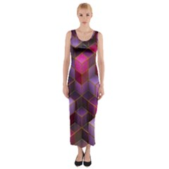 Cube Surface Texture Background Fitted Maxi Dress