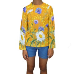 Flowers Daisy Floral Yellow Blue Kids  Long Sleeve Swimwear