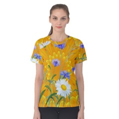 Flowers Daisy Floral Yellow Blue Women s Cotton Tee