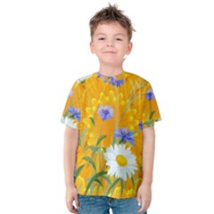 Flowers Daisy Floral Yellow Blue Kids  Cotton Tee