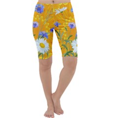Flowers Daisy Floral Yellow Blue Cropped Leggings