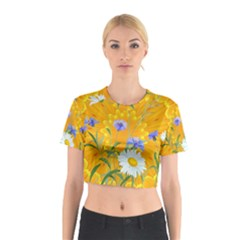Flowers Daisy Floral Yellow Blue Cotton Crop Top