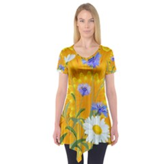 Flowers Daisy Floral Yellow Blue Short Sleeve Tunic