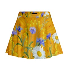 Flowers Daisy Floral Yellow Blue Mini Flare Skirt