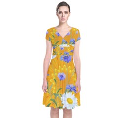 Flowers Daisy Floral Yellow Blue Short Sleeve Front Wrap Dress