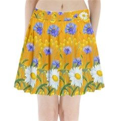 Flowers Daisy Floral Yellow Blue Pleated Mini Skirt