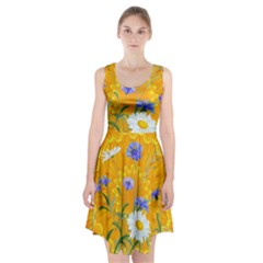 Flowers Daisy Floral Yellow Blue Racerback Midi Dress