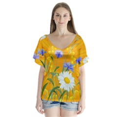 Flowers Daisy Floral Yellow Blue V Neck Flutter Sleeve Top