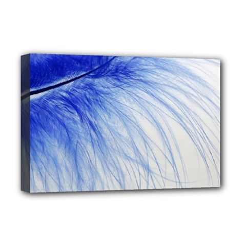 Feather Blue Colored Deluxe Canvas 18  X 12