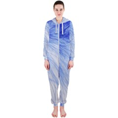 Feather Blue Colored Hooded Jumpsuit (ladies)