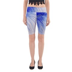 Feather Blue Colored Yoga Cropped Leggings