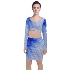 Feather Blue Colored Long Sleeve Crop Top & Bodycon Skirt Set