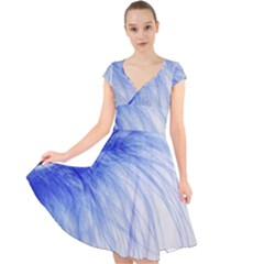 Feather Blue Colored Cap Sleeve Front Wrap Midi Dress