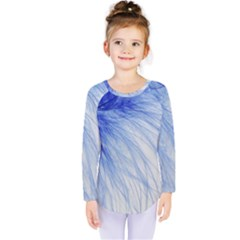 Feather Blue Colored Kids  Long Sleeve Tee