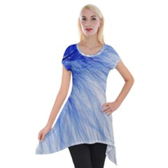 Feather Blue Colored Short Sleeve Side Drop Tunic