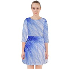 Feather Blue Colored Smock Dress