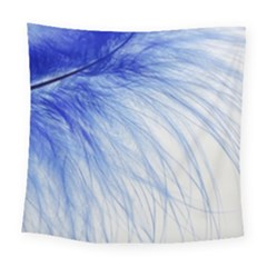 Feather Blue Colored Square Tapestry (large)