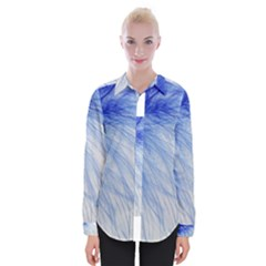 Feather Blue Colored Womens Long Sleeve Shirt