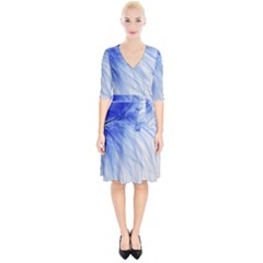 Feather Blue Colored Wrap Up Cocktail Dress