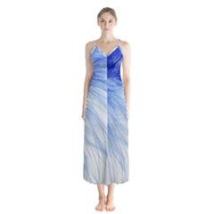 Feather Blue Colored Button Up Chiffon Maxi Dress