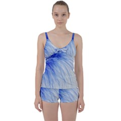 Feather Blue Colored Tie Front Two Piece Tankini