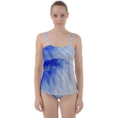 Feather Blue Colored Twist Front Tankini Set