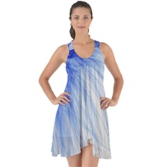 Feather Blue Colored Show Some Back Chiffon Dress