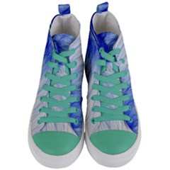 Feather Blue Colored Women s Mid Top Canvas Sneakers