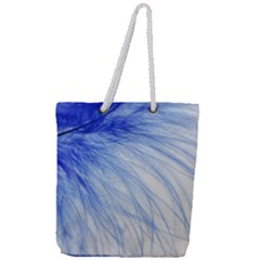 Feather Blue Colored Full Print Rope Handle Tote (large)