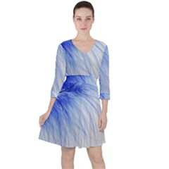 Feather Blue Colored Ruffle Dress