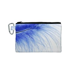 Feather Blue Colored Canvas Cosmetic Bag (small)