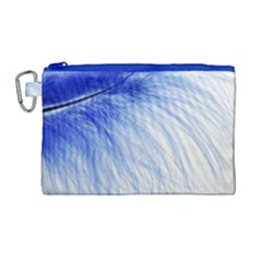Feather Blue Colored Canvas Cosmetic Bag (large)