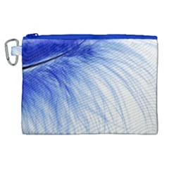 Feather Blue Colored Canvas Cosmetic Bag (xl)