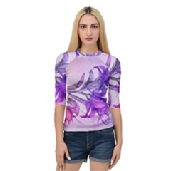 Flowers Flower Purple Flower Quarter Sleeve Raglan Tee