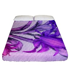 Flowers Flower Purple Flower Fitted Sheet (queen Size)
