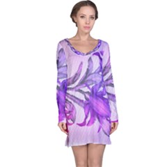 Flowers Flower Purple Flower Long Sleeve Nightdress