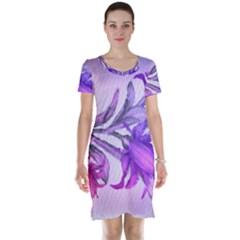 Flowers Flower Purple Flower Short Sleeve Nightdress