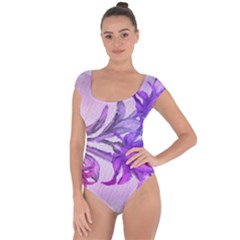Flowers Flower Purple Flower Short Sleeve Leotard