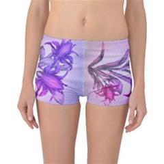 Flowers Flower Purple Flower Reversible Boyleg Bikini Bottoms