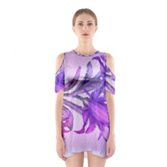 Flowers Flower Purple Flower Shoulder Cutout One Piece