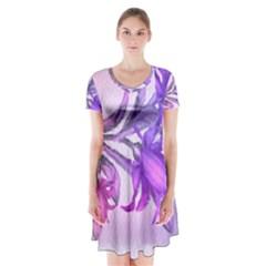 Flowers Flower Purple Flower Short Sleeve V Neck Flare Dress